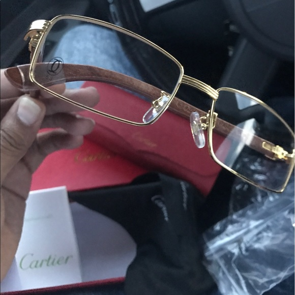 0f4c157c79a 100% Authentic Cartier Gold and Wood Glasses