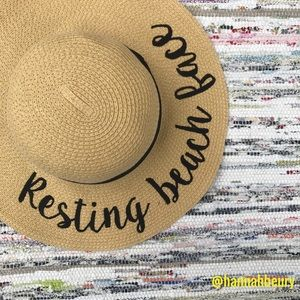"""Resting Beach Face"" Embroidered Floppy Beach Hat"
