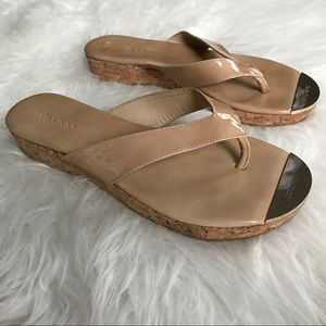 Jimmy Choo Shoes - Jimmy Choo Nude Silver Leather Cork Thong Sandals