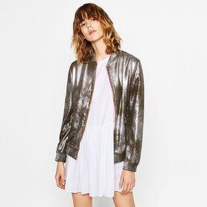 Zara Jackets & Blazers - ZARA Metallic Bomber Jacket ✨