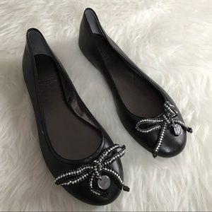 Coach Shoes - Coach Leena Black Leather Beaded Bow Flats