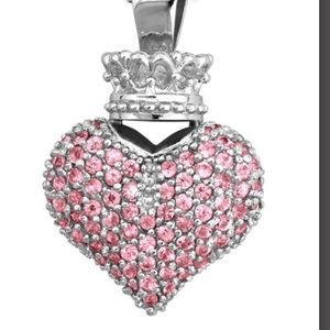 King Baby Studio Jewelry - King Baby large 3D pave pink CZ heart pendant