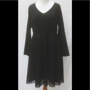 New Eshakti Black Tulle Fit Flare Midi Dress 28W