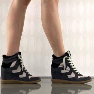 Sam Edelman Bennett Black/Grey Wedge Sneakers EUC
