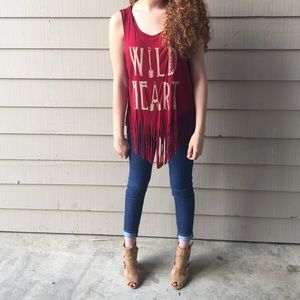 shyanne Tops - XL • wild heart fringed shirt