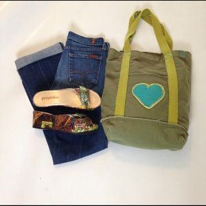 Life is Good Handbags - Life is Good army green and blue canvas boho bag