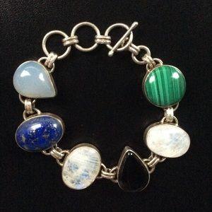 Jewelry - Lapis, Moonstone, Malachite Toggle Bracelet