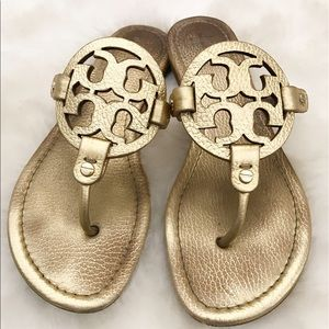 Tory Burch Shoes - Tory Burch Miller Pebbled Leather Logo Sandals 9.5