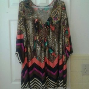 ONE WORLD Tops - Multicolored dressy blouse