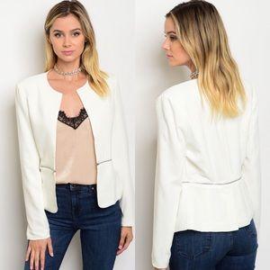 The O Boutique Jackets & Blazers - 🆕 Ivory Long Sleeve Open Front Zipper Trim Blazer