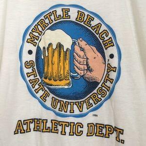 Vintage Shirts - VTG 80's paper thin beer tee 50/50 South Carolina