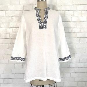 Kenar  Tops - Moroccan embroidered linen Caftan / Tunic