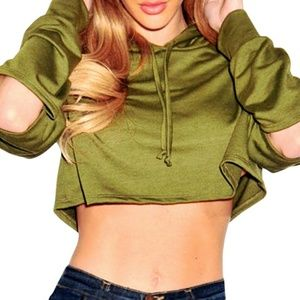 9b14041e01c0d Tops - 🆕 Olive Green Ripped Hoodie Crop Top