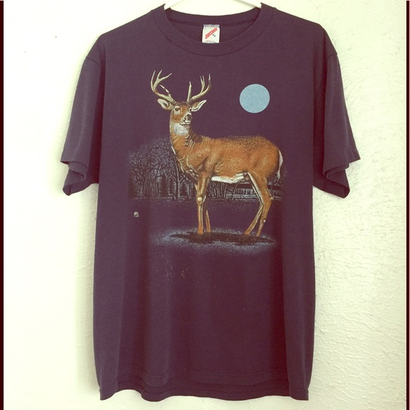 Vintage Shirts - VTG 80's deer tee full moon thin in the pines