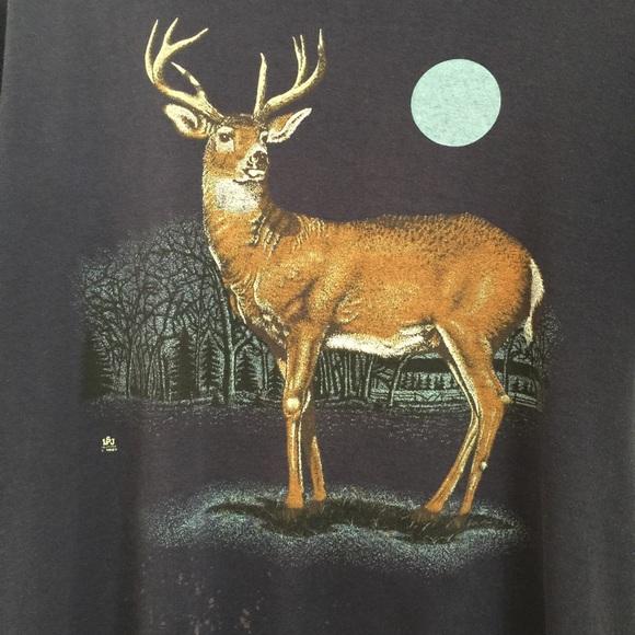 Vintage Tops - VTG 80's OOAK deer tee - full moon - in the pines