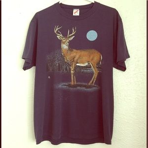 VTG 80's deer tee full moon thin in the pines