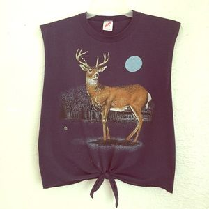 VTG 80's OOAK deer tee - full moon - in the pines