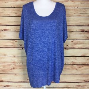 Lane Bryant Asymmetrical Tunic Blue Short Sleeve