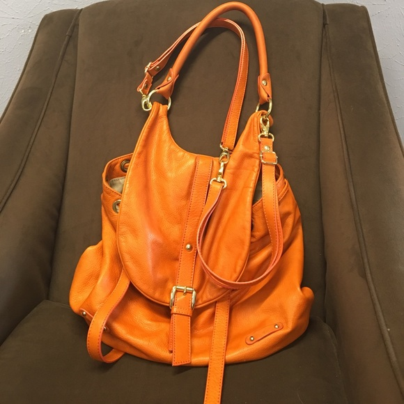 5ca4c063f1 Gianni Notaro Handbags - Gianni Notaro orange leather backpack