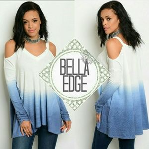 Bella Edge Tops - 🆕 White blue ombre cold shoulder vneck top