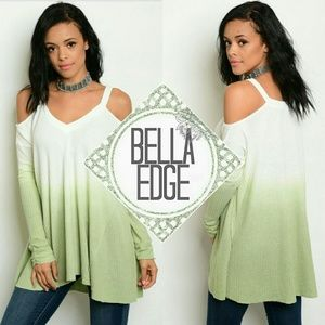 Bella Edge  Tops - 🆕 White green ombre cold shoulder  vneck  top