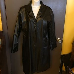 Vintage Jackets & Blazers - Black Vegan Leather TrenchCoat Jacket Trench Coat