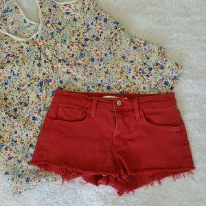 Joe's Jeans Pants - Joe's Jeans red denim shorts with frayed hem
