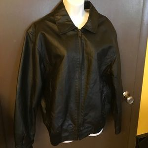 Black Genuine Leather Stone Creek Bomber Jacket M
