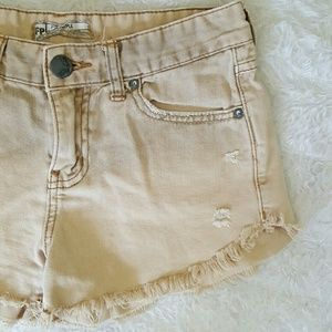 Free People Pants - Free People denim, khaki colored distressed shorts