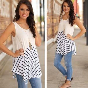 Tops - Striped Asymmetrical Tunic