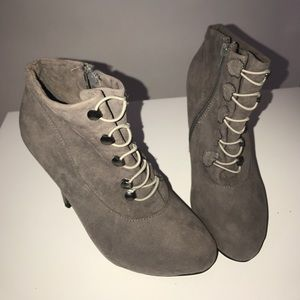 Shoes - Suede Closed Toe Ankle Heel Boots