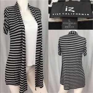 Iz Byer Tops - 🌷Size Large IZ Byer Striped Layered Cardigan Top