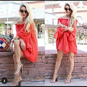 Red off the shoulder Chicwish Dress