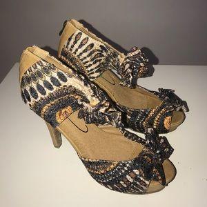 Shoes - Tribal Print Open Toe Heels