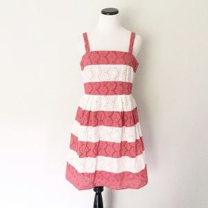 Ann Taylor LOFT White pink eyelet Summer Dress