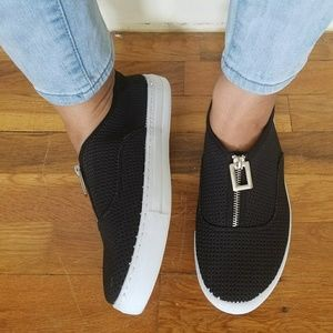 Shoes - BLACK SILVER PERFORATED SNEAKERS