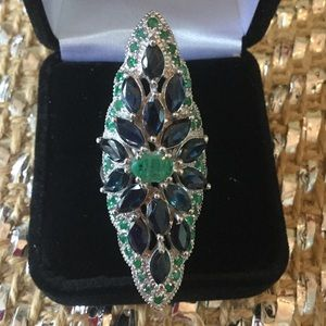 Antique Auction Jewelry - Once in a Lifetime Genuine Sapphire & Emerald Ring