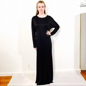 L'AGENCE LONG MAXI GOWN BLACK SILKY DRESS