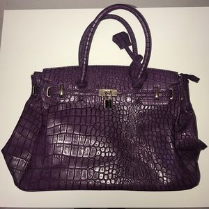 Handbags - Purple Faux Snake Skin Purse with Silver Accents