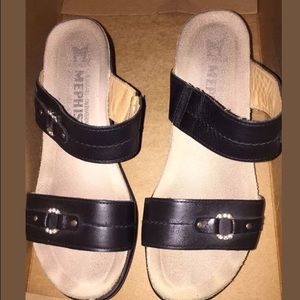 Mephisto Shoes - Mephisto Black leather sandals 36/6