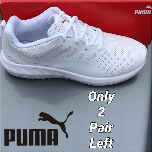 New Puma Pure White Leather Sneaker for Women bcc1e405a