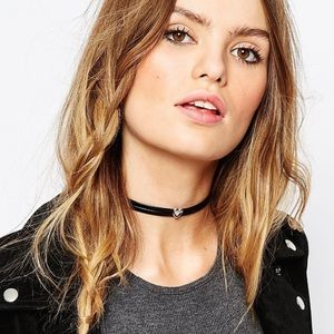 ASOS Leather Look Heart Choker