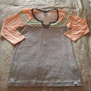 Roxy XS baseball tee shirt