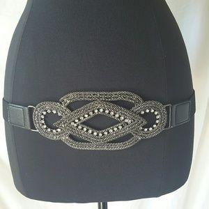 Accessories - Silver Rhinestone Bling Waist Belt Size Small