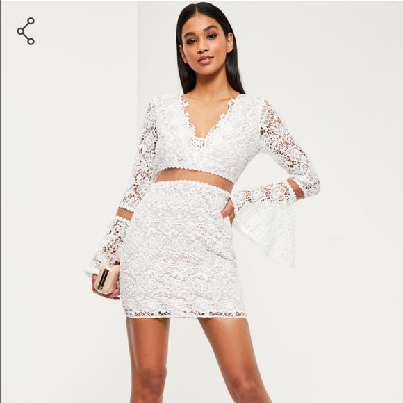 ae078dd3ef71 Missguided Dresses | White Lace Sleeve Bodycon Dress | Poshmark