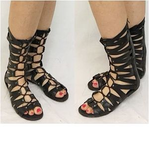 Me Too Shoes - Boho Chic Black Gladiator Sandals Boots 6 7 7.5 8