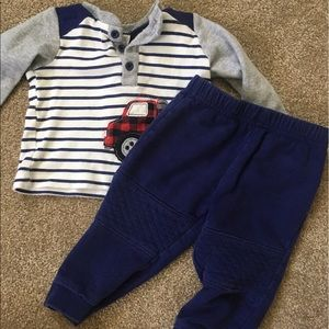 Baby Essentials Other - Boys Truck Shirt/Pants Set