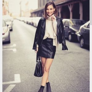 H&M black leather mini skirt.