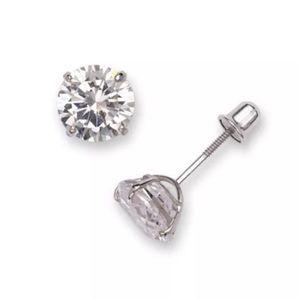 Jewelry - 14K Pure White Gold 5mm CZ Stud Earrings