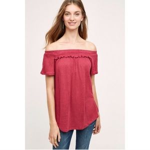 NWT Anthro Bordeaux Linen Off The Shoulder Tee